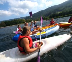 Canoeing on the lake in the Vosges