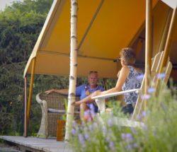 Deck glamping tent in the Vosges, Au Clos de la Chaume Campsite
